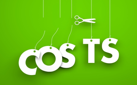 low cost: Symbolizes discounts and prices drop. White word costs suspended by ropes on green background