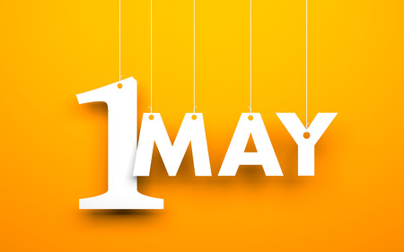 may calendar: White word 1 may suspended by ropes on orange background. Illustration for the may holidays Stock Photo