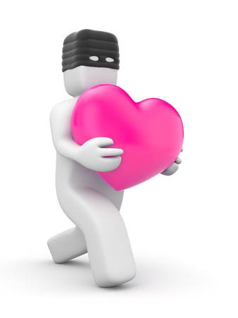 theft: White character in the thief  mask carries a pink heart. Symbolizes the theft of the heart of his girlfriend