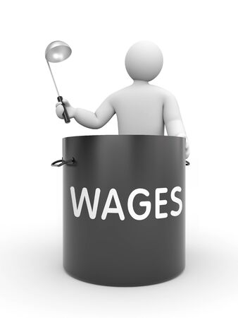 wages: Distribution of salaries. White character holding a ladle and a large black pot with inscription WAGES Stock Photo