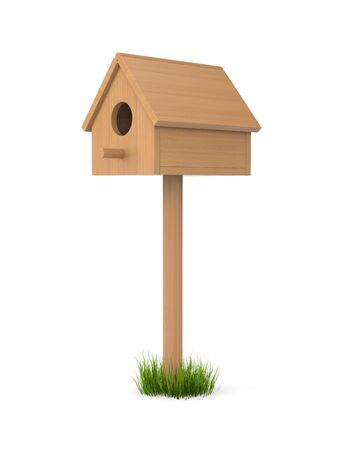 inhabited: Birdhouse isolated on white. May be inhabited by birds. Made from wood