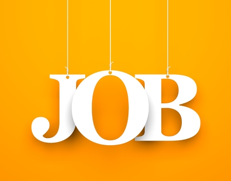 Orange background with hanging letters which make up the word - job Stockfoto