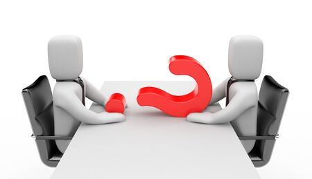 negotiating: Two people dressed as businessmen sitting at the negotiating table, and between of them is the red question
