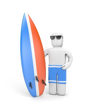 surfboard: 3D white man standing with surfboard, probably posing for a photo Stock Photo