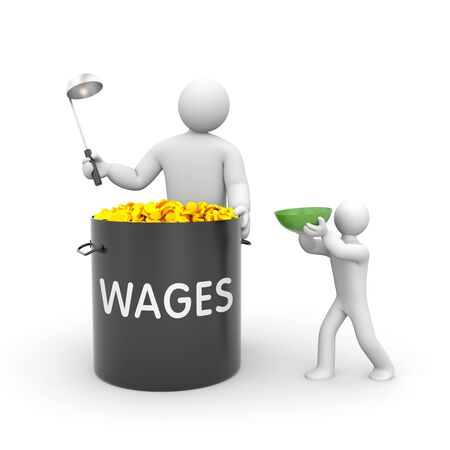 wages: Distribution of salaries White character holding a ladle and a large black pot with gold coins and inscription WAGES.