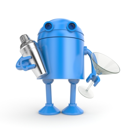 Blue Robot with shaker and glass for cocktails