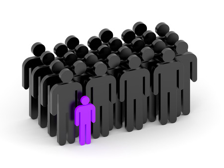 A crowd of people among which stands the figure of a little man in purple color
