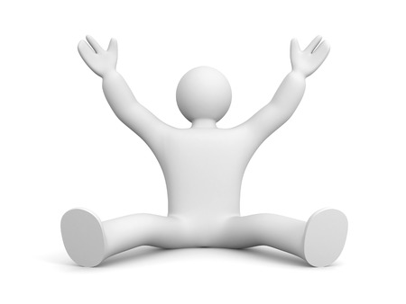 hands up: 3D man rejoices something hands up in the air Stock Photo