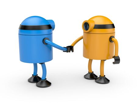 jackplug: Two colored robot(blue and orange) shake hands
