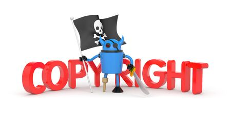 roger: Blue robot pirate with a wooden leg, sword and a flag with Jolly Roger Stock Photo
