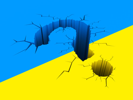 questionably: Cracked question on the background of the Ukrainian flag