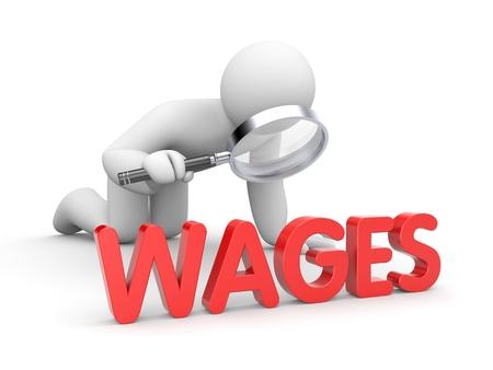 salarios: Hombre blanco 3D con lupa el estudio de las palabras SALARIOS rojos Foto de archivo