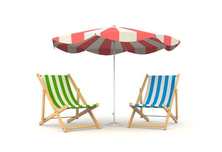 under the bed: Two sun bed stand under the parasols. Symbolizes beach vacation