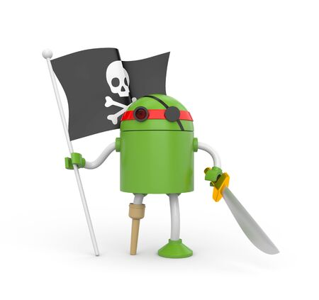 jackplug: Green robot pirate with a wooden leg, sword and a flag with Jolly Roger Stock Photo