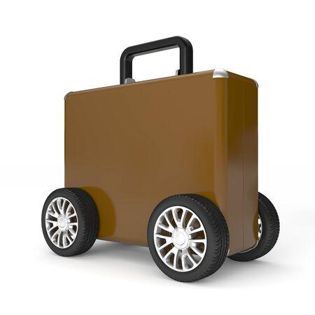 car wheels: Travel metaphor. Isolated on white