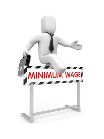 salarios: Car�cter blanco 3D intenta elevar sus salarios Foto de archivo