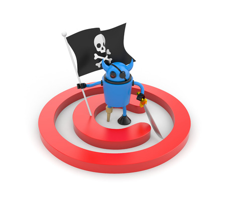 wooden leg: Blue robot pirate with a wooden leg, sword and a flag with Jolly Roger Stock Photo