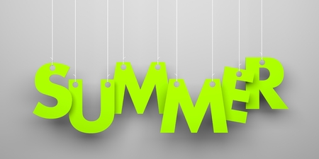 sumer: Summer word hanging on a strings. Conceptual image Stock Photo