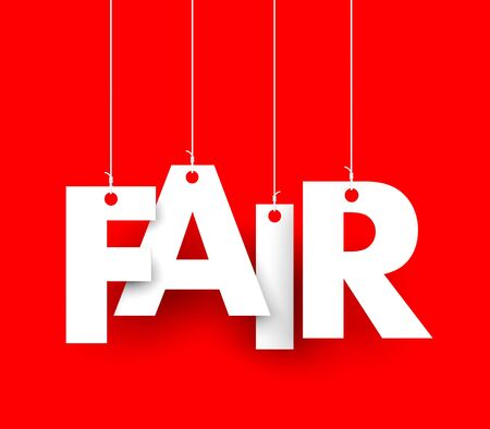 bias: Red background with hanging letters which make up the word - fair