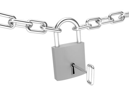 keylock: Security concept. Isolated on white Stock Photo