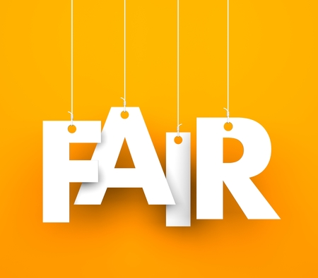 fair play: Orange background with hanging letters which make up the word - fair