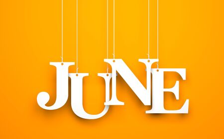 june: Orange background with hanging letters which make up the word - JUNE