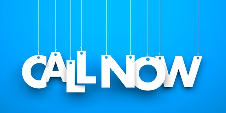 make a call: Blue background with hanging letters which make up the word - Call now Stock Photo