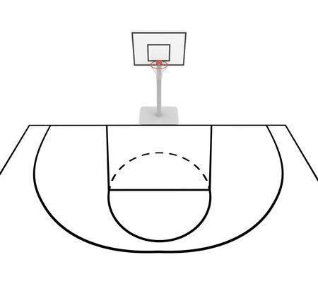 markup: Basketball court. Isolated on white