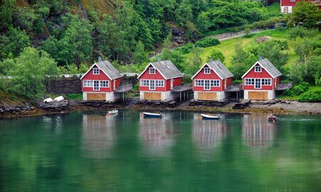 summer house: Camping near the sea. Norway. Geiranger.