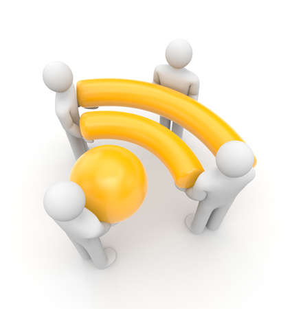 symbol people: People hold Wi-Fi or RSS symbol