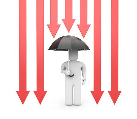fall protection: Umbrella as protection - Business metaphor