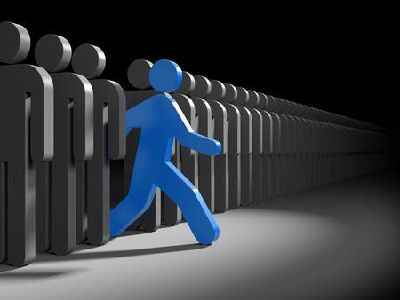Bleu caractère court de la foule des caractères gris. Symbolise le leadership et l'originalité Banque d'images