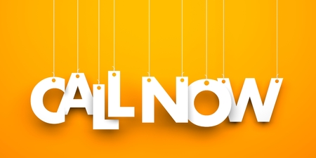make a call: Orange background with hanging letters which make up the sentence - Call now