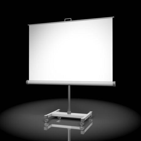 projection screen: Projection screen or whiteboard on black Stock Photo