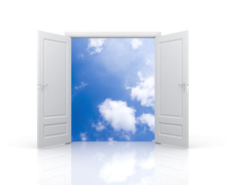 door: Freedom metaphor Stock Photo