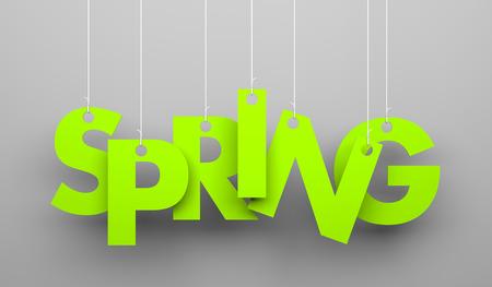 Mot de printemps suspendus sur une des chaînes. Image conceptuelle