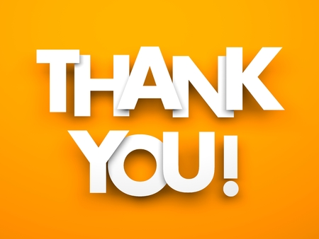 Thank you. Words on a orange background