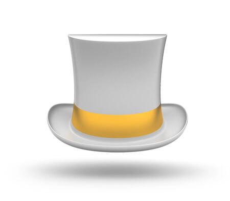 imposing: White Top hat with gold stripe Stock Photo