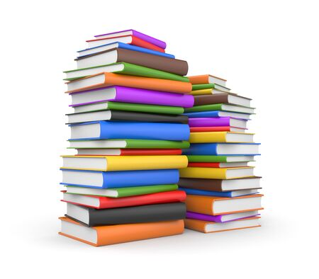 bibliophile: Books stack. Isolated on white
