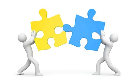 business partnership: A graphic illustration of the partnership through two puzzles