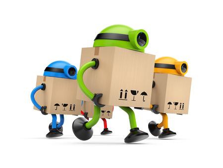 cartero: Grupo de los robots de colores que se ejecutan en algún lugar