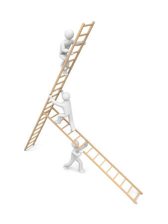 clamber: Three men are building a construction from ladders to climb on the top
