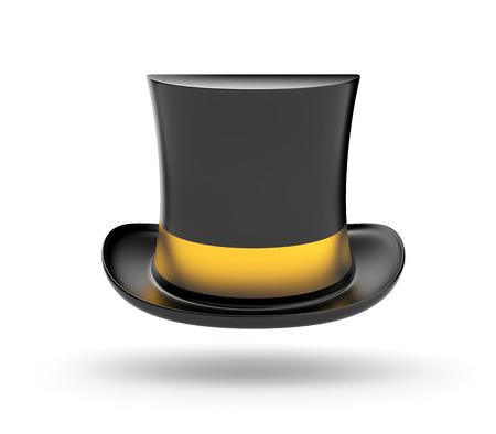 imposing: Black Top hat with gold stripe hovering in the air on white background Stock Photo