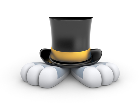 protrude: Black Top hat with gold stripe from which protrude Bunny paws