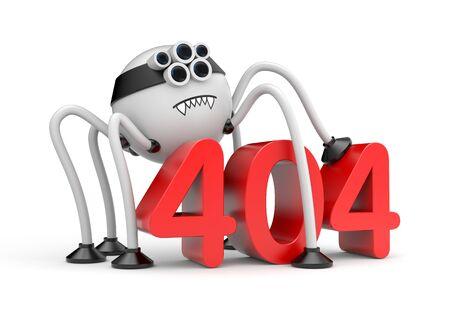 metaphors: Robot spider and 404 error. Internet metaphors
