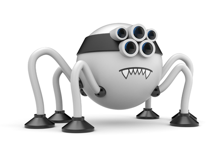 arachnophobia: Cute robot spider. Cartoon character