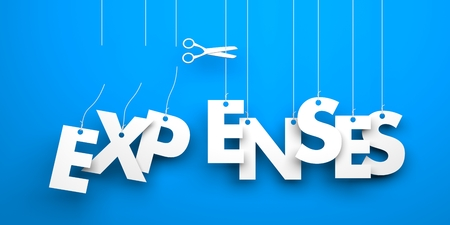 expenses: Symbolizes discounts and prices drop. White word expenses suspended by ropes on blue background Stock Photo