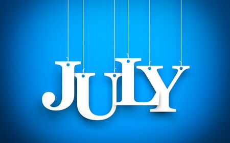 Blue background with hanging letters which make up the word - JULY