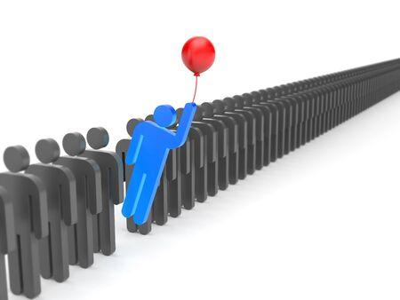 liderazgo: carácter azul volando en un globo de multitud de personajes grises. Simboliza el liderazgo y la originalidad