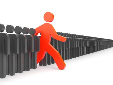 liderazgo empresarial: Carácter rojo corre entre la multitud de personajes grises. Simboliza el liderazgo y la originalidad